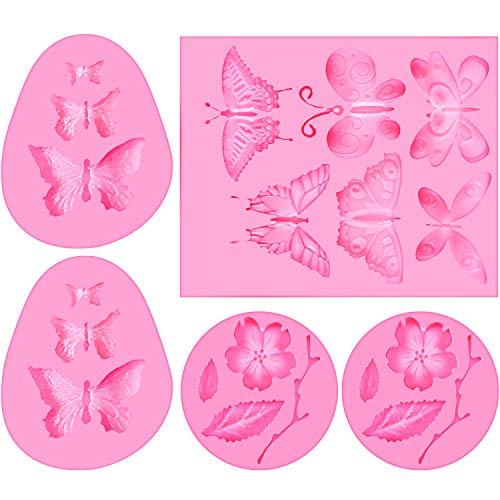 5 Piezas Moldes de Silicona de Mariposa y de Flor Moldes de...