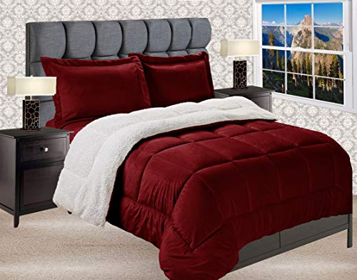 Elegant Comfort Premium Quality Heavy Weight Micromink Sherpa-Backing Reversible Down Alternative Micro-Suede 2-Piece Comforter Set, Twin/Twin XL, Burgundy, Solid Burgundy