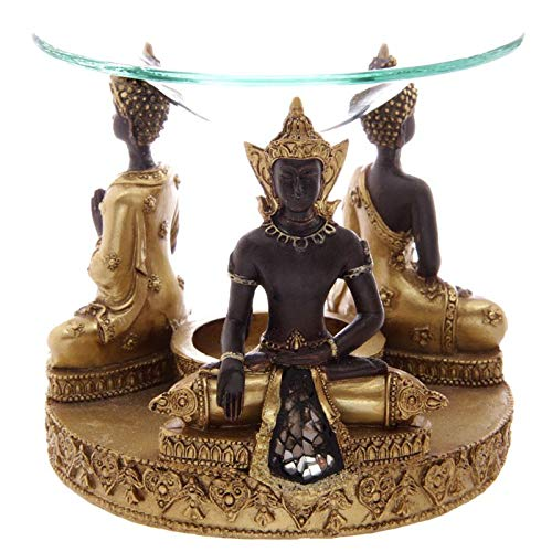 Giftbrit Gold & Brown Thai Buddha Oil Burner with Glass Mosaic Detail Aromatherapy Oil Diffuser Ornament for Yoga Spa Home Bedroom Decor Gift