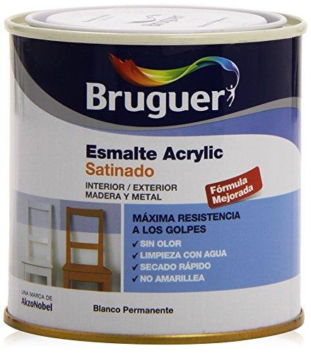 Bruguer 5160660 - Esmalte acrílico satinado, Blanco permanente, 250 ml, 1 Pieza
