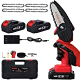 Mini Chainsaw, Mini Chainsaw Cordless, Electric Prunning Chainsaw with 2 Pack Upgraded 24V Battery & Quick Charger for 2+ Hours Continuous Use, Battery Powered Chain Saw for Tree Trimming Wood Cutting