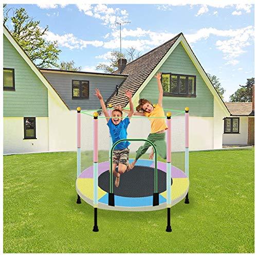 Cama elástica para niños de 5 pies con red de cierre, alfombrilla de salto y cubierta de resorte, juego al aire libre