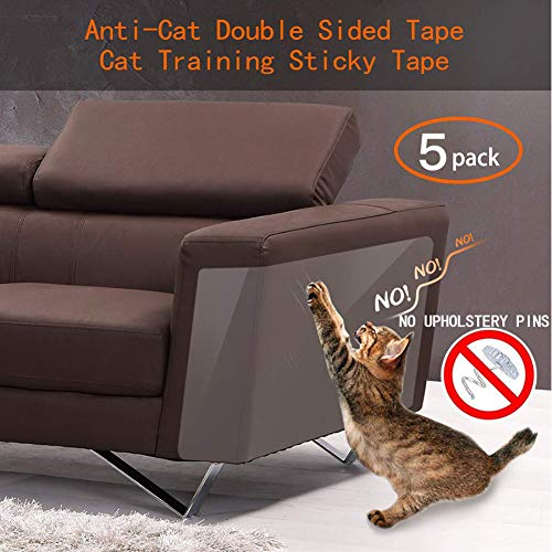 Binary Barn Cat AntiScratch Deterrent Tape Furniture Protectors from Cats,Clear Double Sided Training Tape Sticky Paws Stop Pets from Scratching Couch and Door Pins Free 5Pcs