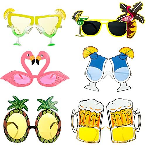 Czemo 6 Pares de Gafas de Sol de Fiesta de Novedad Gafas de Sol Tropicales Hawaianas Gafas Fiesta Luau Tropical Disfraz Gafas para Niños Adultos