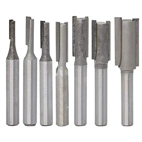 7-teiliges Fräser-Set, 6,35 mm Schaft, gerade, gerade, Hartmetall-Holzfräser, Holzbearbeitungswerkzeuge, Trimmfräser für Holzbearbeitung