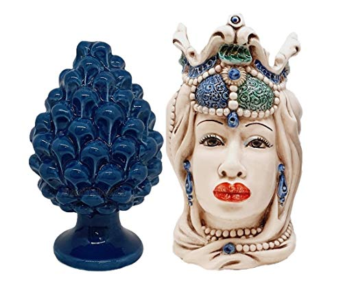 Sicilia Bedda - Testa di Moro in Ceramica di Caltagirone con Pigna Siciliana in Ceramica - H 13 Cm (Donna con Pigna Blu)