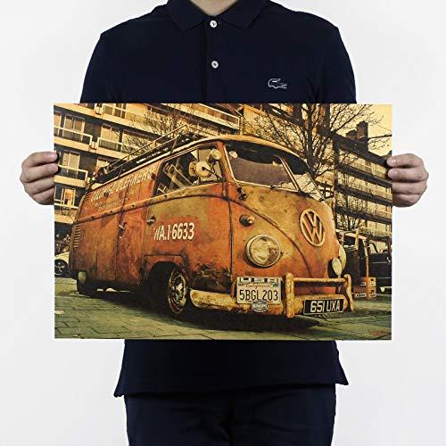 BRT 1 Stuk Vintage Tekens Bus Retro Schilderen Auto Bar Antieke Wanddecoratie Poster Muursticker 51x35.5cm