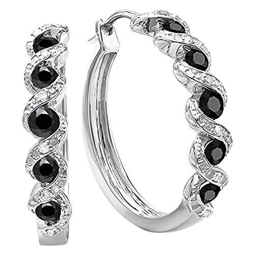 Dazzlingrock Collection 0.86 Carat (ctw) Black and White Round Diamond Ladies Hoop Earrings, Sterling Silver