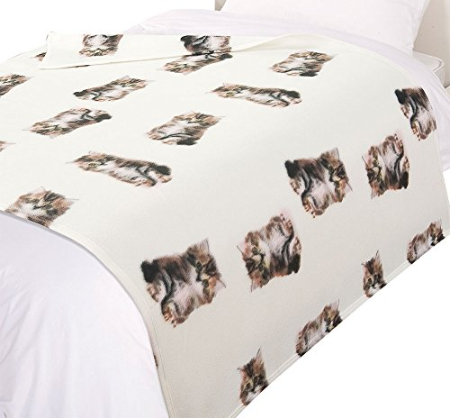 Dreamscene Überwurf Decke, Katze Animal Print Tagesdecke, beige/weiß