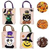 Halloween Biancheria Regalo Sacchetti,4 Pezzi Halloween Dolce Caramella Sacchetti Borsa per Feste per Bambini Borsa in Non Tessuto di Halloween