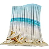 Fleece Throw Blanket for Couch/Bed Cozy Super Warm Soft Microfiber Fuzzy Flannel Blanket for Adults Kids,Starfish Seashell Sandy Beach Theme 40' x 50'