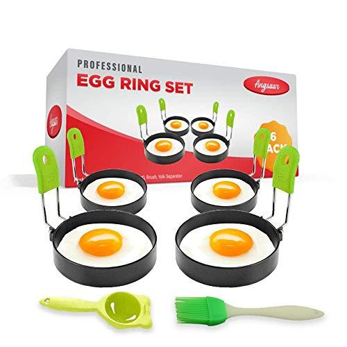 ANGSAAR's Stainless Steel Egg Cooker Ring Molds for Frying Eggs & Omelet Maker   Non Stick with Oil Brush and Egg Yolk Separator   Pancakes and English McMuffins Shaper (Set of 6)