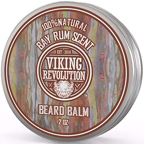 Beard Balm with Bay Rum Scent and Argan & Jojoba Oils - Styles, Strengthens & Softens Beards & Mustaches - Leave in Conditioner Wax for Men by Viking Revolution
