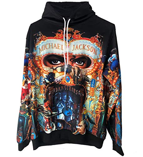 Michael Jackson Dangerous Hoodies Sweatshirt mit 3D Druck Tops Punk Hip Pop Lässig Dünnes Sweatshirt (XL, MJ Hoodies)