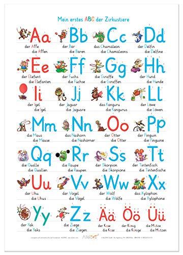 ALLEOVS® Mein erstes ABC der Zirkustiere - Alphabet Lernposter ABC Tiere Buchstaben Poster, Grundschrift (GS), Grundschule Kinder - DIN A2