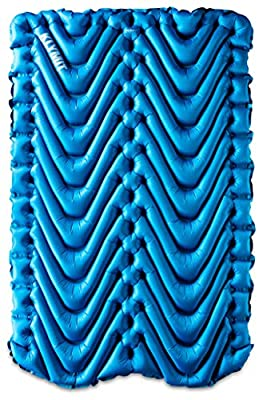 KLYMIT Double V Sleeping Pad, 2 Person, Double Wide (47 inches), Lightweight Comfort for Car Camping, Two Person Tents, Travel, and Backpacking, Blue-2020