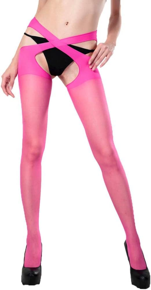 Euone Women Sexy Stockings Tights Open Stockings Pantyhose Tights (Hot Pink)