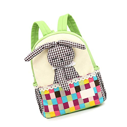 Mochila de lona para niños con diseño de niña, color verde