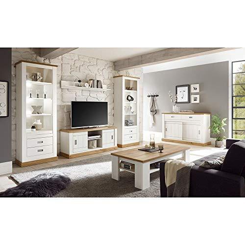 Lomadox Wohnwand-Set Landhaus inkl. Sideboard und Couchtisch Pinie weiß, Wotan Eiche B/H/T ca. 324/204/40-46 cm