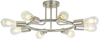 BONLICHT 8-Light Sputnik Chandelier Brushed Nickel Semi Flush Mount Ceiling Light Industrial Vintage Light Fixtures for Kitchen Living Room Dining Room Bed Room Hallway