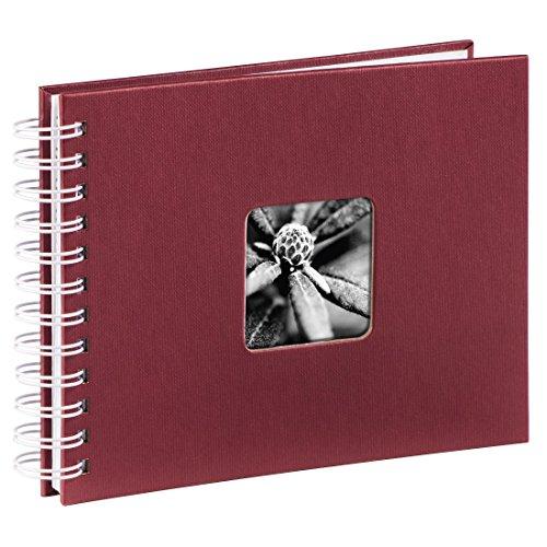 Hama Fotoalbum 24x17 cm (Spiral-Album mit 50 weißen Seiten, Fotobuch mit Pergamin-Trennblättern, Album zum Einkleben und Selbstgestalten) bordeaux