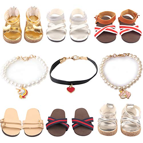 ReeRaa 9 Set 18 inch Doll Shoes American Girl Doll Accessories 6 Pairs of Shoes + 3 Necklaces Suitable for American Girl Doll Sandals or Slippers and Accessories