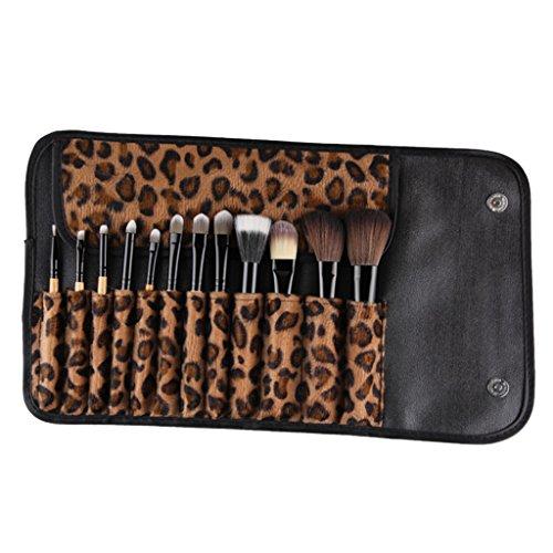 Toygogo 12 Pièces Bois Naturel Professionnel Maquillage Cosmétique Pinceau À Paupières Kit De Fondation Ombre À Paupières Kabuki Avec Leopard Imprimer Sac Tit
