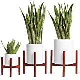 KITBRHOME (Set of 3, Dark Brown) (8+10+12) inch Plant Stand Mid Century Wood Flower Pot Holder (Plant Pot NOT Included) Potted Stand Indoor Display Rack Rustic Decor, for Indoor and Outdoor House
