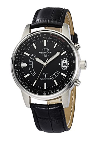Master Time Funk Quarz Weltzeit Herren Uhr Analog mit Leder Armband MTGS-10347-21L
