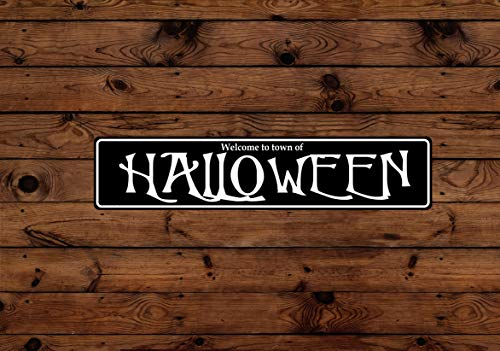 Nonbrand Tin Signs Halloween Town Aluminum Sign Indoor Outdoor Use Holiday Vintage Style Metal Poster Plaques for Funny Wall Decoration Art Sign Gifts - 3x18''