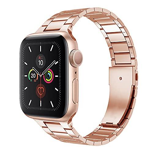QINJIE Compatible con la Correa de Apple Watch Series 6/5/4/3/2/1, Correa de Repuesto de Metal de Acero Inoxidable Fino Mejorada, para Negocios y Ocio,2,42mm