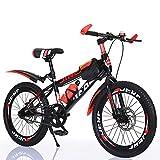 Bicicletas De MontañA Hombre 24 Pulgadas,Bicicleta De 7 Velocidades con Frenos De Doble Disco, con Cuadro De Acero Al Carbono Y Amortiguador, con Timbre, Candado Y Cantimplora 20inch Red