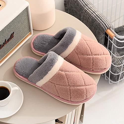 B/H Memory Foam Antideslizante Pantuflas,Zapatillas de algodón cálido de Invierno, Zapatillas de Piel Antideslizantes de Interior-Rosa Claro_35-36,Transpirables y de Interior Suave Zapatillas