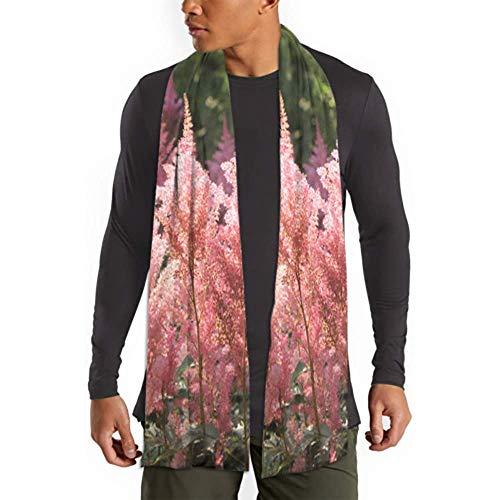 Kimi-Shop Schal Rosa Blumen Astilbe Japonica Lange Ebene Warme Weiche Schals - Baumwollschals 71in x 11.8in Scarf