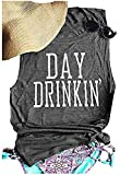 Day Drinkin' Shirt Tank for Women Casual Tee Tops Solid Sleeveless O Neck Tank Tops(Grey, L)