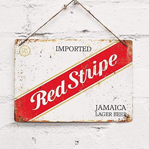 KGPE0WRF5S Hintergrund Wanddeko roter Streifen Jamaikanisches Bier Retro 8x12inches Sw2