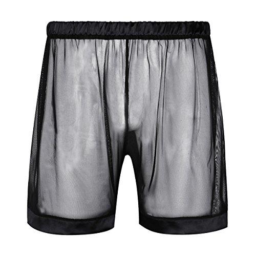 FEESHOW Herren Transparente Boxershorts Netz Shorts Kurze Hose Männer Sexy Unterhose Atmungsaktive Unterwäsche M-XL Schwarz L