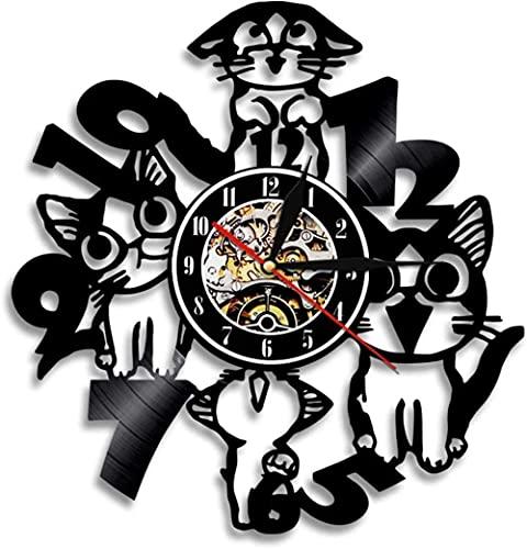 Reloj De Pared Cute Cat Creative Animal Led Design Reloj De Pared Con Disco De Vinilo Obtenga Regalos Únicos Regalos Para Cumpleaños Ideas Navideñas Para Niños, Niñas, Hombres, Mujeres, Adultos, Él Y