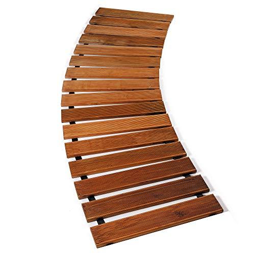 Floranica® Gartenweg (meterware) sicher und komfortabler Rollweg aus imprägniertem Lärchenholz Laufsteg Holzweg rollbarer Rasenweg - geriffelt, Farbe:braun, Größe:Menge = Länge in lfm/Breite 30 cm
