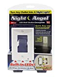 Night Angel 1 Wall Coverplate with Automatic Light Sensor and Built-in LED Guidelights for Square Outlets-Decor, 1, White