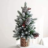Pequeño árbol de Navidad cubierto de nieve con cono de pino y bayas con base de arpillera, árbol de Navidad de pino artificial de mesa para decoración del hogar de la oficina, mini árbol de Navidad-B