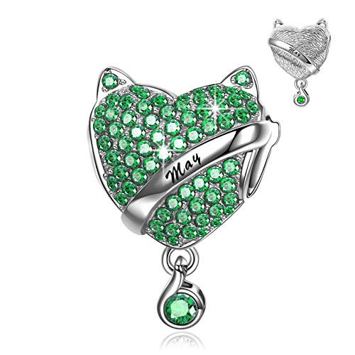 NINAQUEEN Charm fit pandora charms Women's jewellery best gifts Green Birthstone May Emerald with Jewellery Box 925 Sterling Silver