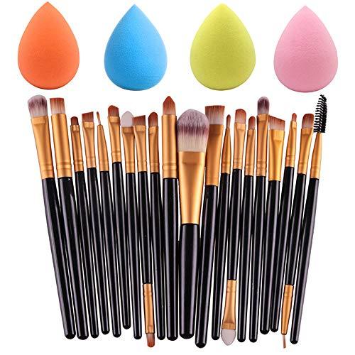 SourceTon Make-up-Schwämme mit 20 Make-up-Pinsel-Set, 4 Farben, Grundierungsschwämme und professionelle Lidschatten-Pinsel-Set