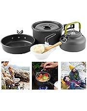 Camping kookgerei, 10-delige campingkookset, afneembare pannenset, outdoor kookset, campingaccessoires, klapgrepen, anti-aanbaklaag, voor outdoor picknick kamperen koken