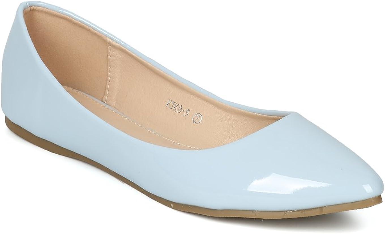 Alrisco Women Patent Pascal Leatherette Pointy Toe Ballet Flat HI07