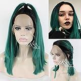 ZanaWigs peluca sintética frente de encaje Bob corto Pelucas para mujeres negras ombre verde peluca pesada 150% densidad