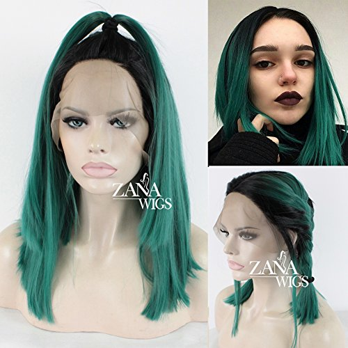 ZanaWigs Synthétique Perruque Lace Front Wig Bob Short Wigs for Black Women Ombre Green Wig Heavy 150% Density