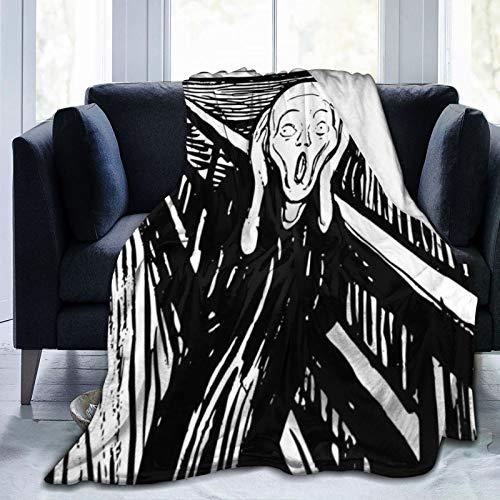 Bernice Winifred Blanco y Negro Edvard Munch The Scream Ultra-Soft Micro Fleece Blanket Hecho de Franela Anti-Pilling, más cómoda y cálida.80x60