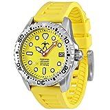Hawaiian Lifeguard Men's Official Association Dive Watch Stainless Steel Japanese Quartz Rubber Strap, Yellow, 22 (Model: HLA, 5408, hla5408)