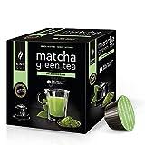 King Cup - 1 Paquete de 10 Cápsulas de Tè Matcha Sin Azúcar, 10 Cápsulas 100% Compatible con el Sistema Nescafè Dolce Gusto de Bebida con Sabor de Matcha Tea, Sin Gluten y Sin Lactosa